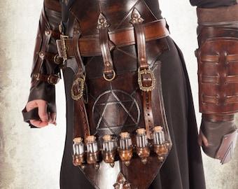 Alchemist tasset - medieval alchemist flask holder for LARP, action roleplaying and cosplay