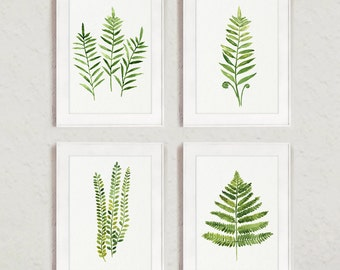 Fern Painting Green Abstract Leaf Watercolor Print Set of 4 Leaves Kitchen Wall Poster, Ferns Illustration Living Room Art, Gift for Women