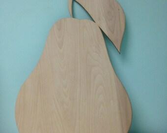 Laser Cut Unpainted Pear Wall/Door Decor