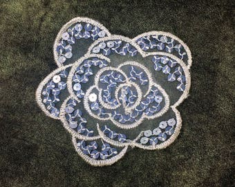 Mirror Sequins Flower Sew On Applique