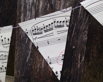 Small Music Notes Banner - Vintage Sheet Music Decoration - Paper Bunting Garland - 3 inch Triangles - Classroom - Music Teacher - Earth Day