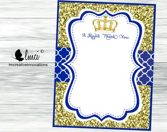 Royal Thank You Card, Baby Shower Thank You Note, Little Prince Thank You Card, Instant Download - Digital File