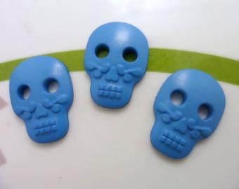 Set of 4 buttons skull skull 16 * 22mm light blue