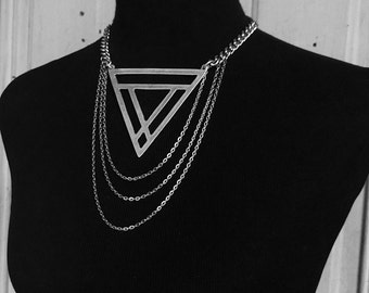 Maat - Choker - Necklace - Silver - Triangle - Geometric - Jewelry - Witchy - Goth - Avant Garde - High Fashion - Statement - Unique Gift