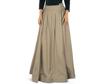 Adilah Khaki Rayon Long Skirt AS-014 Islamic Formal, Daily & Casual Wear Made In Soft Rayon Fabric