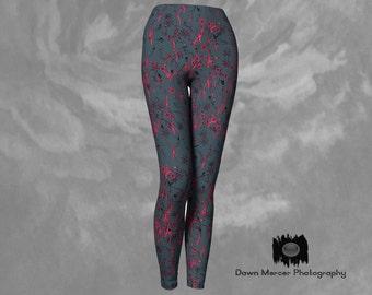 Printed Yoga Leggings Floral Grey Pink Graphic Art Yoga Tights Artsy Pants Stylish High Waisted Compression Fit Artist Designed Custom Print