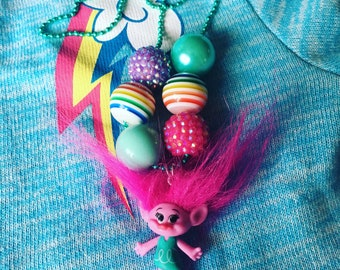 Troll Bubblegum Bead Pendant Necklace, Poppy, Troll Movie