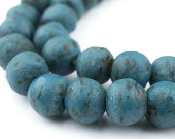 44 Vintage-Style Serpentine Recycled Glass Beads: Ghana Krobo West African Cultured Sea Green Ghanaian Trade Round Rustic (RCY-RND-GRN-1057)