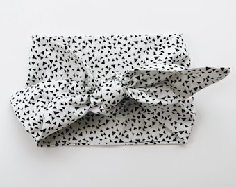 Cotton Black and White Triangle Headwrap/Headband - One Size Fits All