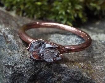 Herkimer Diamond Ring, US 6, copper ring, gemstone ring, crystal Ring, Herkimer Diamond, Boho jewellery, crystal ring, raw crystal ring