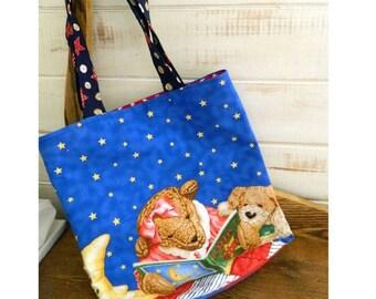 READY TO SHIP Handmade Bedtime Bear Cotton Book Bag - Tote Bag