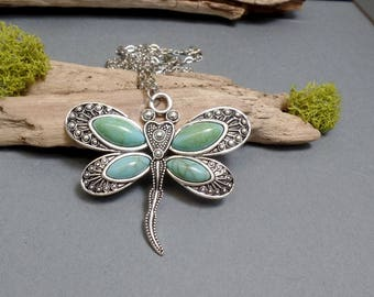 Dragonfly Necklace - Turquoise Dragonfly Pendant - Faux Turquoise Pendant - Dragonfly Pendant Necklace