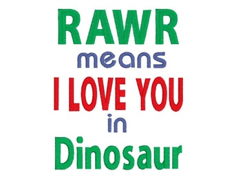 Dinosaur - Rawr - I love you - Reading Pillow Design - Embroidery Design - Instant Download