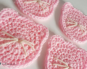 Set of 4 Pink Crochet Cat Coasters