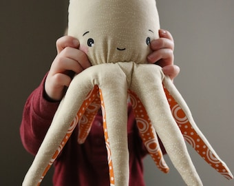 Handmade Soft Plush Stuffed Octopus Animal Tan Orange Dots