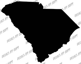 South Carolina State US Solid Outline Car Decal Charleston Columbia Myrtle Beach