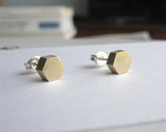Solid Brass Hexagon Studs with Sterling Silver Ear Wire and Sterling Silver Ear nut Geometric Jewelry simple stud earring 0032