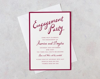 Engagement Party, Printable Engagement Invites, Maroon, Wine, 5x7, A5, Party Invitation, Weddings