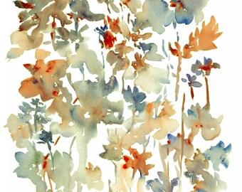I Dreamt of Flowers No. 6, Watercolor Flowers, Fine Art Print 8x10