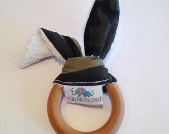 Teething Ring, Maple Teether, Bunny Teething Ring with Ears, Natural Teething Ring, Bunny Ear Teething Ring, Camo Fabric