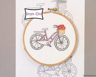 Bicycle Basket • Embroidery Pattern • Iron On Embroidery Pattern Transfer