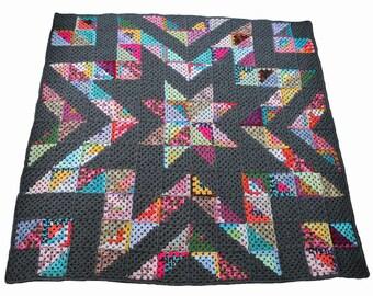 easy crochet afghan pattern -  granny star stashbuster crochet blanket pdf file crochet quilt granny square afghan