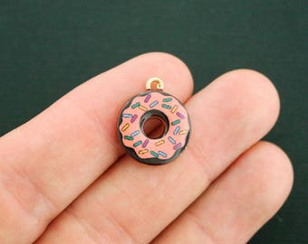 4 Sprinkle Donut Charms Gold Plated Enamel Fun and Colorful - E304