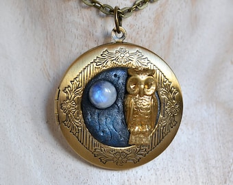 Owl Bronze Locket Hand made pendant with Moonstone