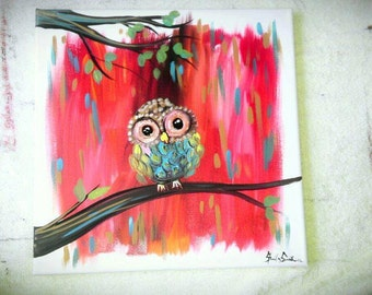 Owl Art, Owl Painting, Owl Decor, hand painted by artist sheila ann smith