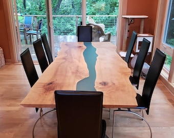 Live Edge River Table | Epoxy Resin Dining Table Curly Maple | Custom Furniture Modern Scandinavian Industrial Steel Legs | Kitchen Table