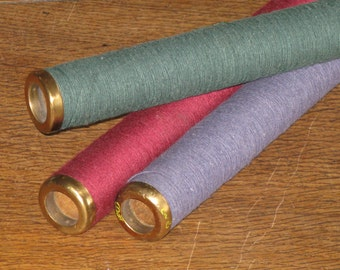 Vintage Wood Loom Spools Bobbins 3- Large Textile Mill with Cotton Thread Green, Blue, Burgundy Red