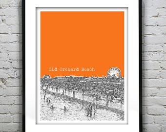 Old Orchard Beach Skyline Poster Art Print Maine ME Version 2