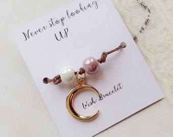 Wish bracelet, never stop looking up moon bracelet, i love you to the moon and back, friend, happy birthday friendship bracelet, cotton hemp