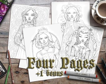 Colouring Pages for Adults | Ye Olde 4-pack | Printable | Zan Von Zed