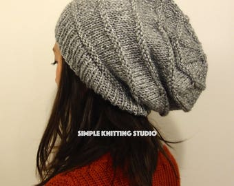 Fashionable Slouchy Hat    Knit Hat, Beanie Hat, Slouchy Beanie  (Color: Light Gray / Speckled Gray)