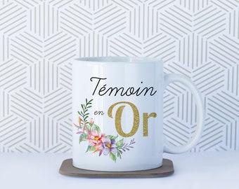 Original mug to witness, personalized Mug, light gold, flower watercolor design