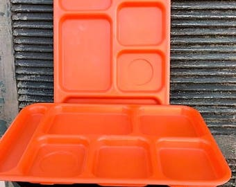 Cambro Set of two Orange Divided Trays