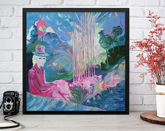 """Big Size Poster of Original Painting """"What are you looking at?"""" Modern Art"""