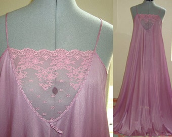 Vintage Rene Purple Nylon Nightgown with Sheer Lace Top and Full Skirt 1970s Size Medium Very Good Condition Free Shipping!