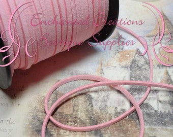 3mm Pink Suede Faux Leather Flat Cord 5 yards, Rose Quartz Pink, Braiding, Bracelet Making, Necklace Cord, DIY Jewelry Cord, Jewelry String