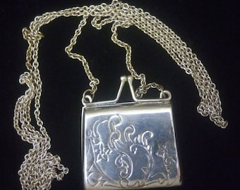 Vintage Sterling Silver Functional Purse Pendant Necklace