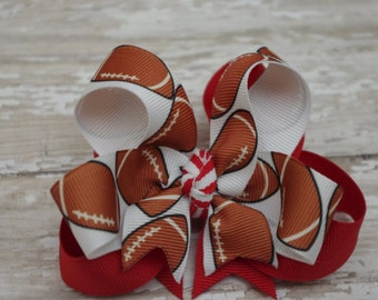 """Boutique Football Layered 4"""" Hair Bow Can Be Customized With Team Colors"""