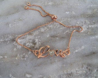Rose Gold Adjustable Bracelet and Rose Gold Love Connector with Rhinestones
