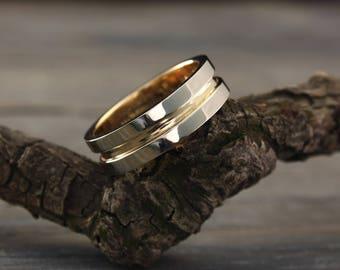 6mm gold wedding band, Minimalist ring, 14k solid two tone gold wedding ring, Wedding band for men or women, Custom wedding band