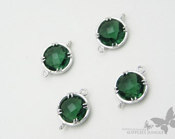 F110-S-EM// Silver Plated Framed Emerald Glass Stone Connector, 2Pc