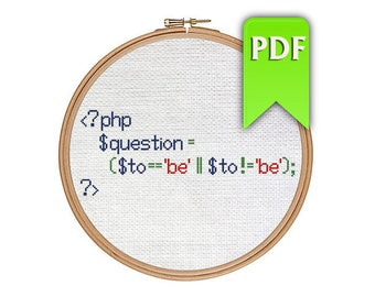 To be or not to be Shakespeare quote in PHP - cross stitch pattern for programmers! Instant download!