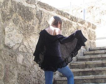 Black Large Shawl Wraps Shawl Knitted Shawl Black Shawl Women's Accessories Knit Shawl Black Knitted Shawl Wraparound Shawl Black Lace Shawl