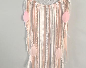 Dream dreams /Dream catcher dusty pink and white with lace and pale pink or white feathers