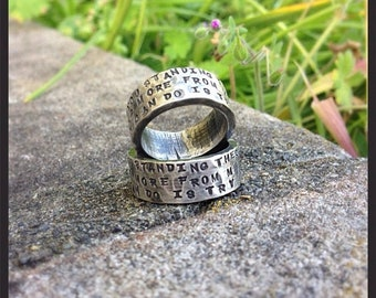 LIMITED TIME SALE His and Hers - Custom Wide Sterling Silver Hand Stamped Rings Set - Couples Rings - You Choose Font - Can Be Customized In