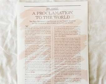 Simple color washed Family Proclamation to the World